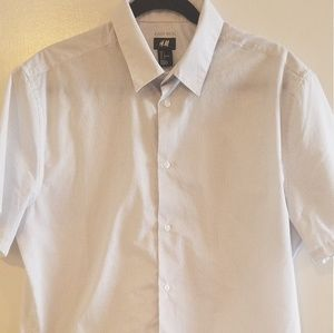H&M Easy Iron White black dotted Shirt